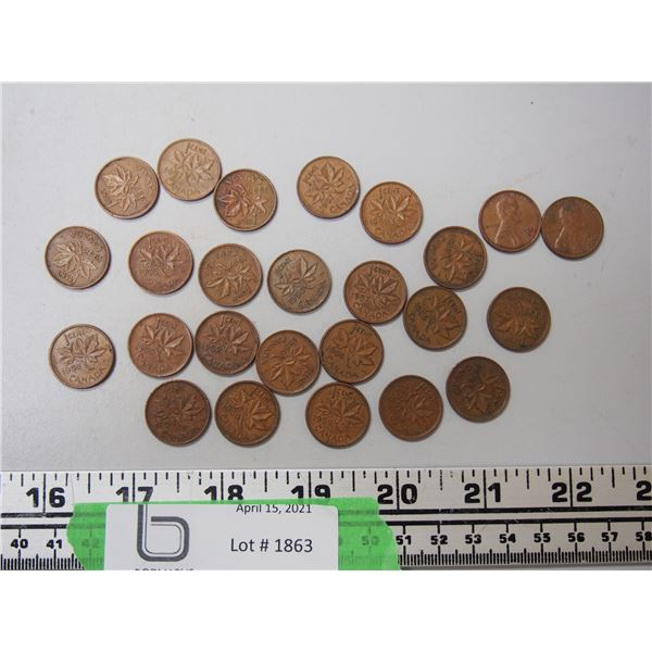 1950's Canadian Pennies Plus (2) 1970's US Pennies