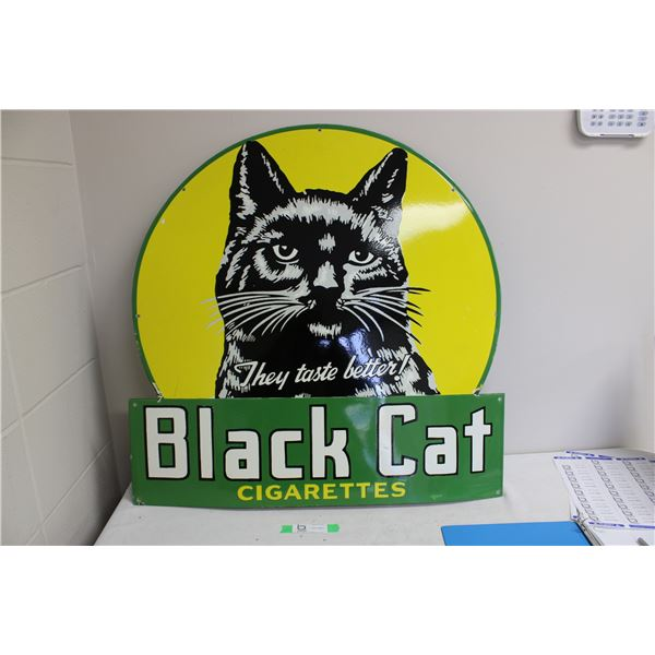 "Black Cat Sign 30"" x 30"" Porcelain Enamel"