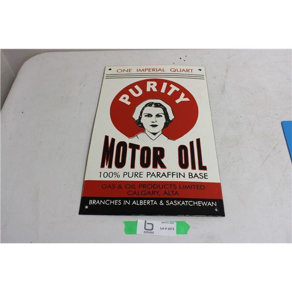 "Heavy Porcelain Purity Motor Oil Sign 16"" x 10"""
