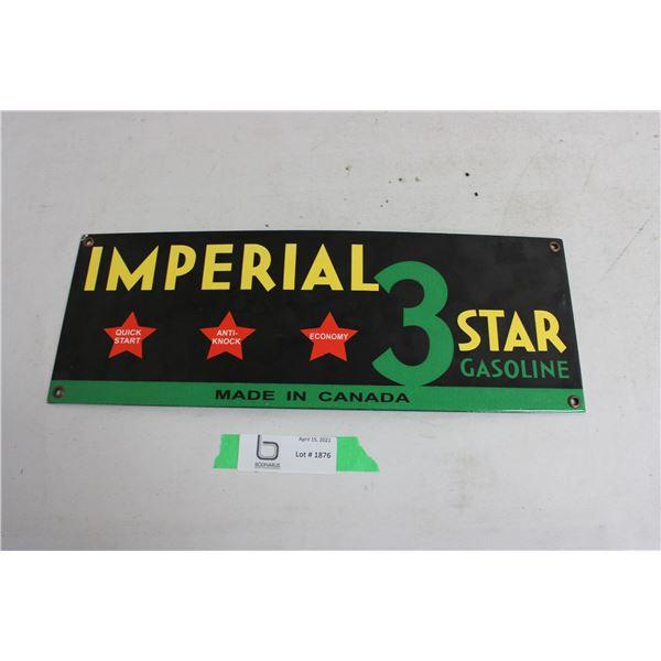 "Imperial 3 Star Porcelain Sign 5.5"" x 15"""