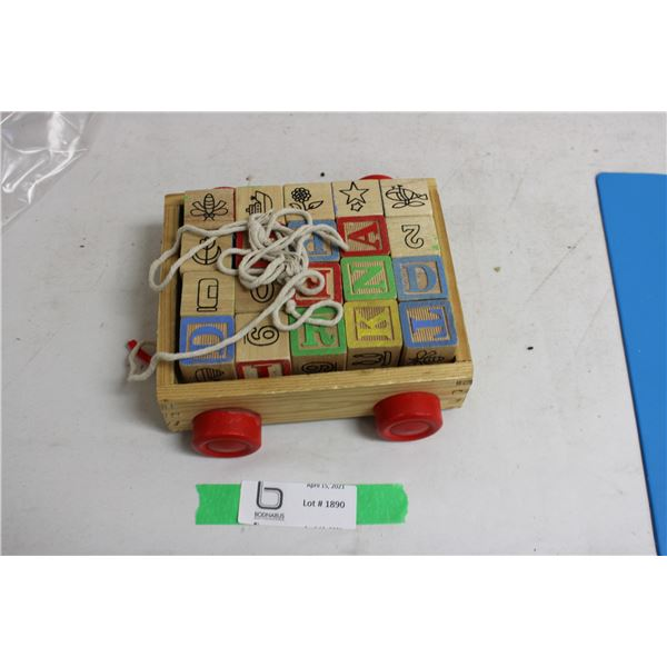 Kids Toy Blocks in Wooden Wagon