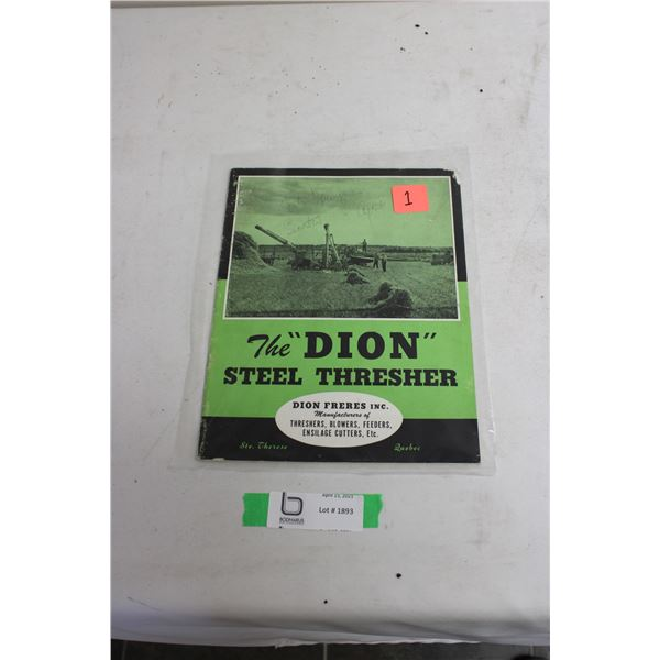 Dion Steel 1930's Threshing Machine Brochure