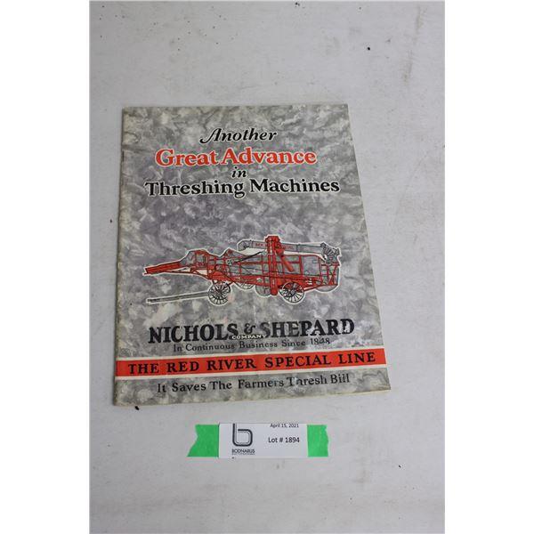 Nichols and Shepard 1930's Thrashing Machine Brochure (Water Damage)