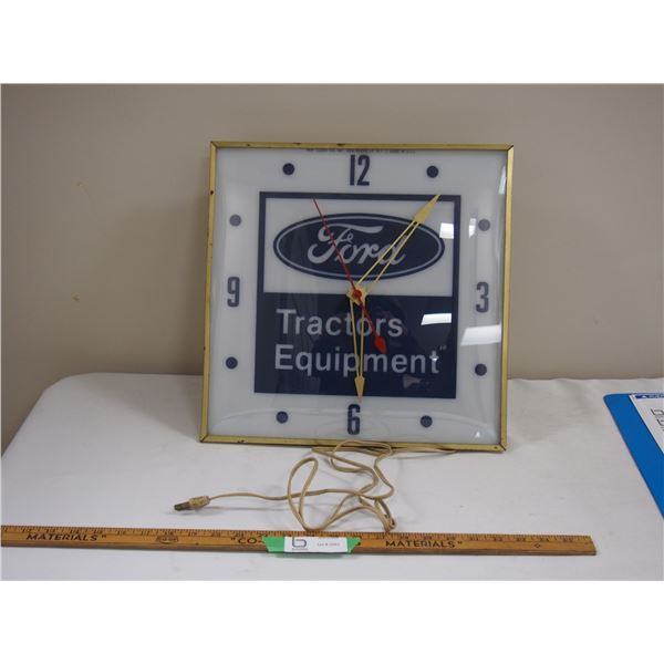 Vintage Ford Tractors Equipment Clock (working, but doesn't light up)