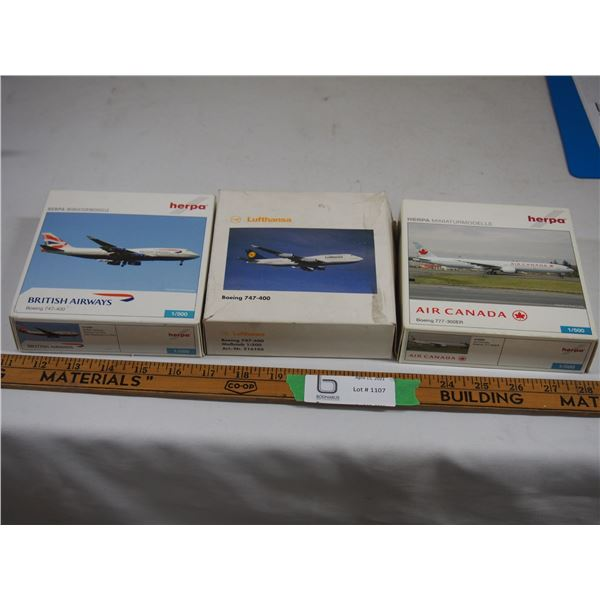 (3X THE MONEY) Herpa Toy Airplanes (3) (NIB) 1/500 Scale