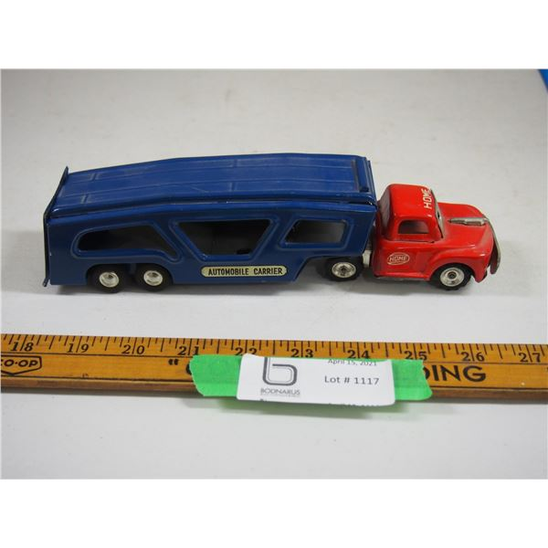"Automobile Carrier Semi Truck and Trailer Metal Tin Toy (9"" long)"