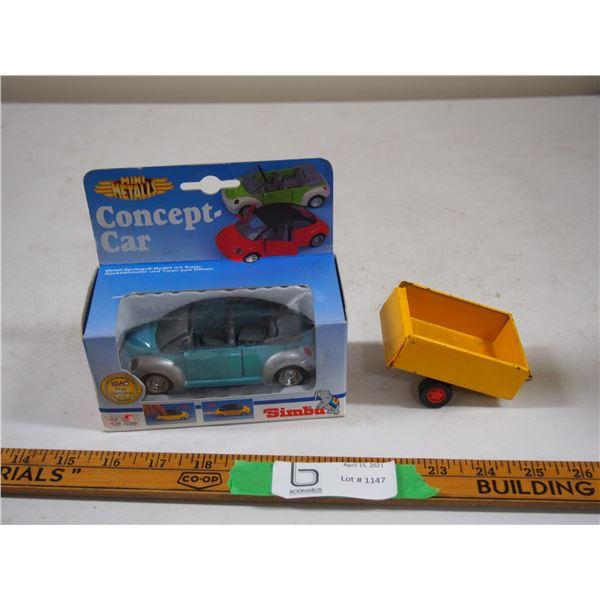 "Tin Trailer Toy Opening Tailgate (3"" Long) Plus Simba Mini Metals Concept Car (NIB) (4.5"" long)"