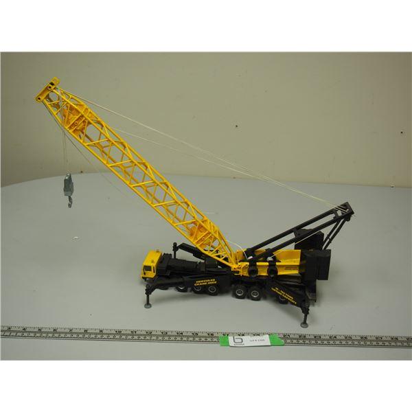 "Hercules Crane Hire Truck Lattice Crane Yellow (1/55 Scale?) (20"" Tall Truck Is 13"" long)"