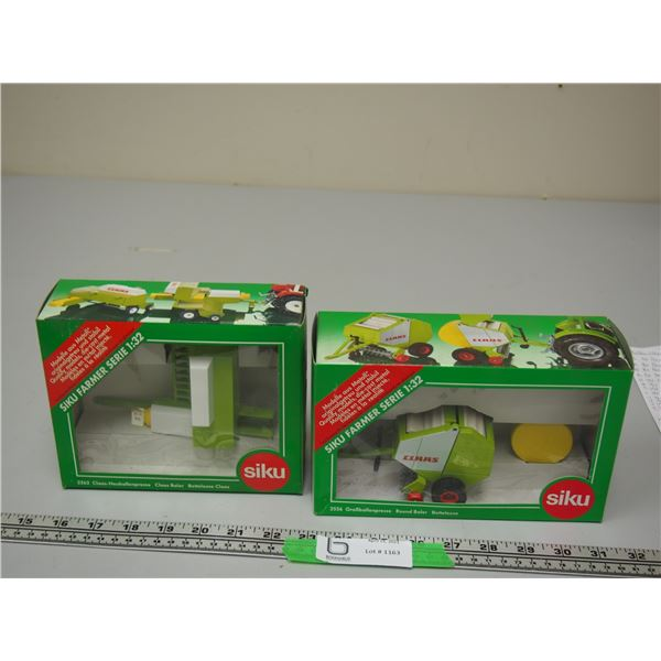 (2X THE MONEY) Siku 2262 CLAAS Square Baler and 2556 CLAAS Round Bale Both 1/32 Scale and (NIB)