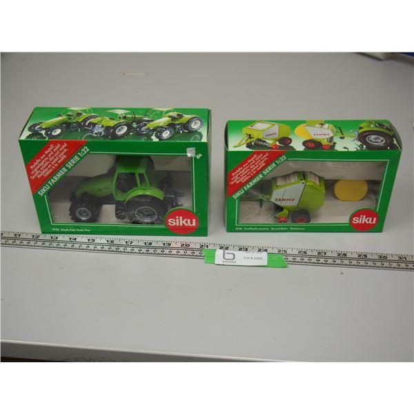 (2X THE MONEY) Siku Deutz Fahr Tractor 1/32 Scale (NIB) and Siku CLAAS Round Baler 1/32 Scale (NIB)