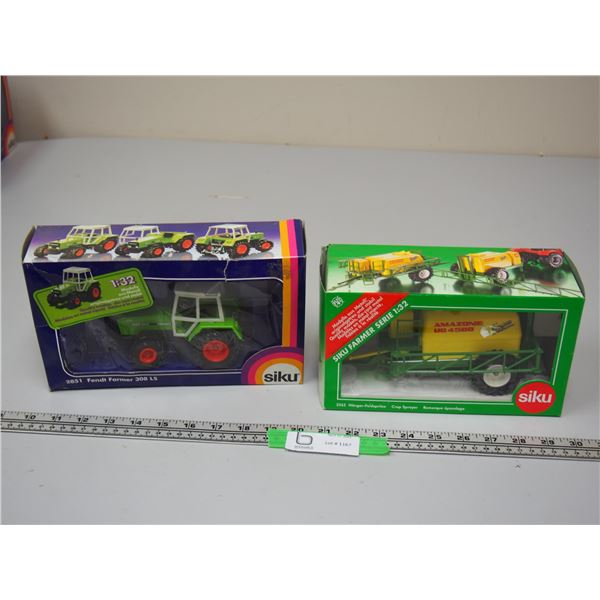 (2X THE MONEY) Siku Farmer 309LS Turbomatik Fendt Tractor 1/32 Scale + Siku Crop Sprayer 1/32 Scale