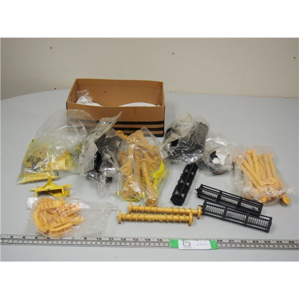 Shoe Box Full of Combine Parts, Augers, Reels, Axels, Etc.