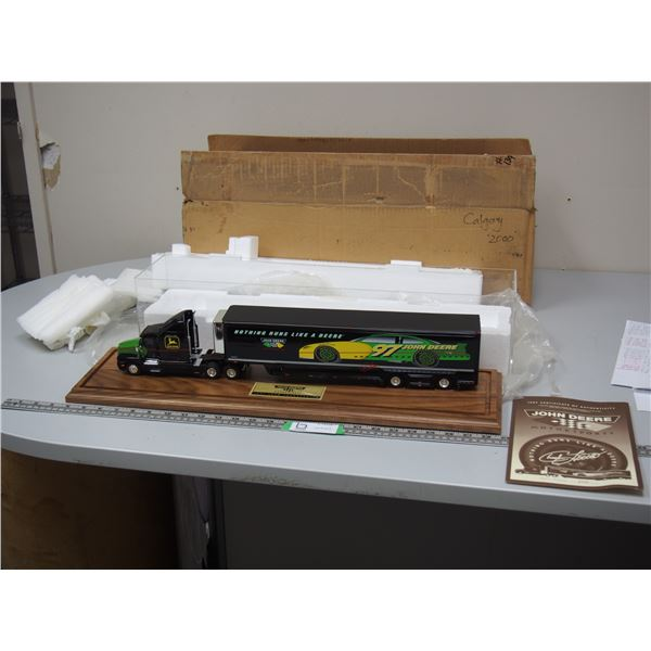 1997 John Deere Nascar Hauler Kenworth 1/43 Scale with Certificate Mint in Box with Plastic Cover...