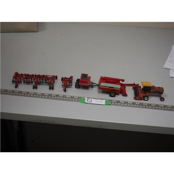 Ertl Hesston 8400 Swather, Versatile Trans Axial 2000, Ertl Case IH 8500 Seeder Box? Plus 2 parts of