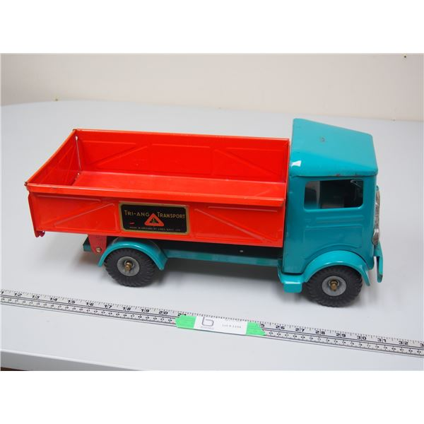 """Tri-ang Transport Dump Truck Made in England (pressed steel) (Lines Bros Ltd.) 18.5"""" long"""