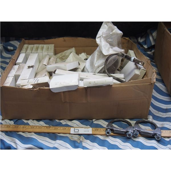 """NOS Muffler Clamps 1 7/8, 2"""" and Brackets"""