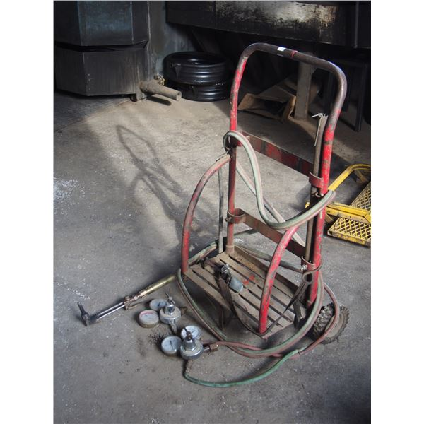 Acetylene Cart with Hoses and Gauges