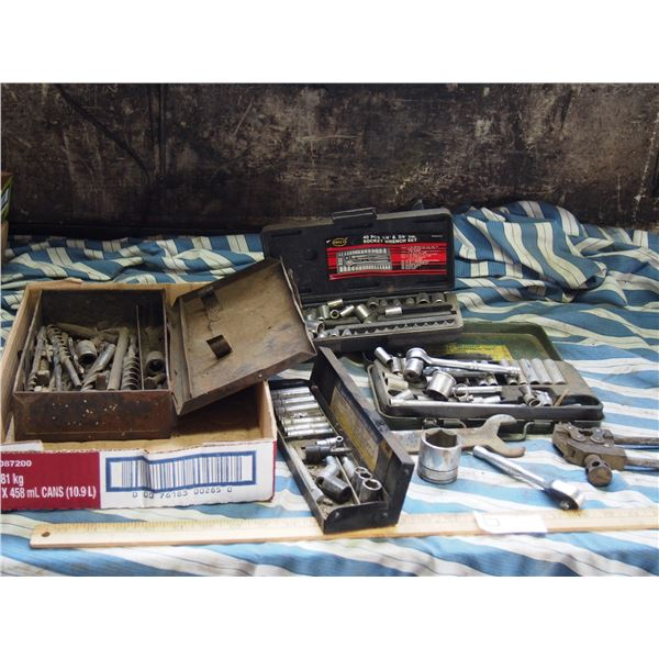 Misc Small Sockets and Ratchets Plus Drill Bits and Other Tools