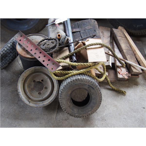 Misc Lot, Tires, Gas Can, Wooden Blocks