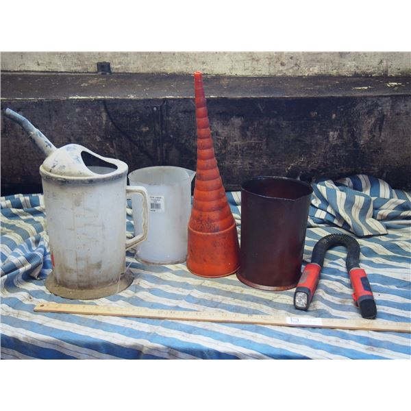 Black and Decker Folding Light, Oil Funnel and Oil Containers