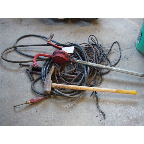 Manual Fuel Pump, Sledge Hammer, Booster Cables and Misc