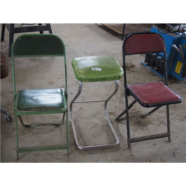 Stool and 2 Metal Folding Chairs