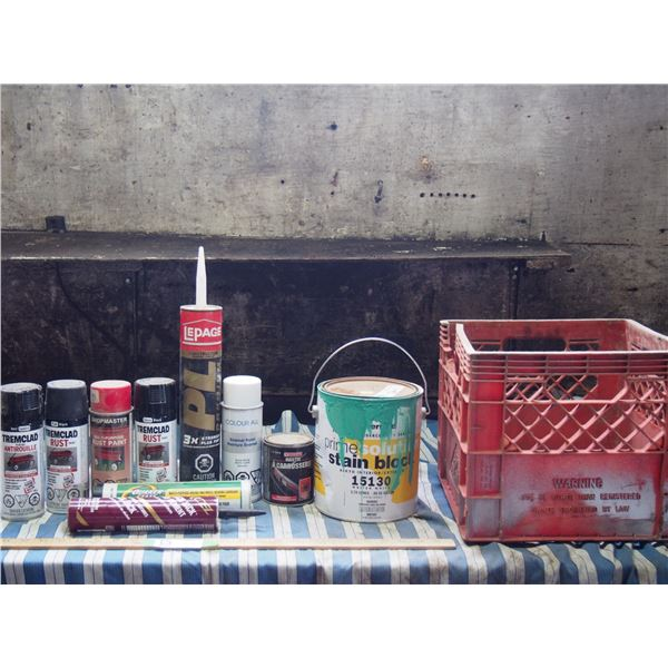 Painting Supplies, Adhesive Grease and Misc in Crate