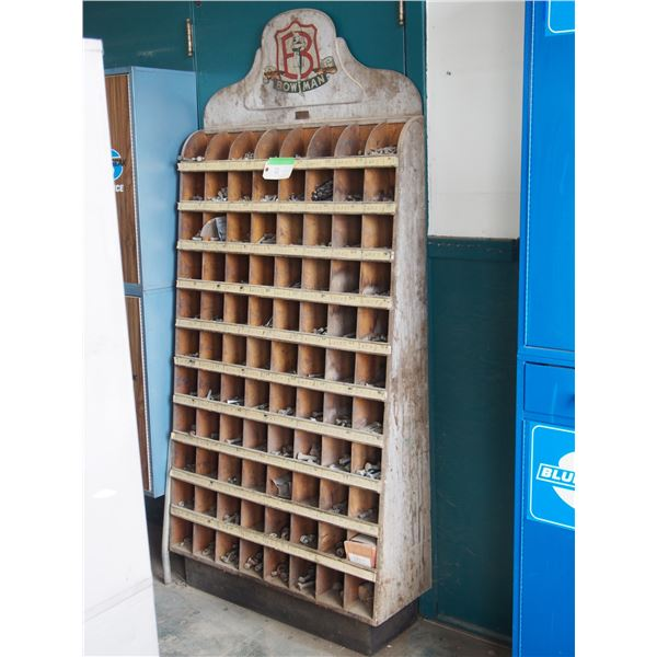 """Bowman Wooden Display Rack with Contents 36 by 77"""" T"""
