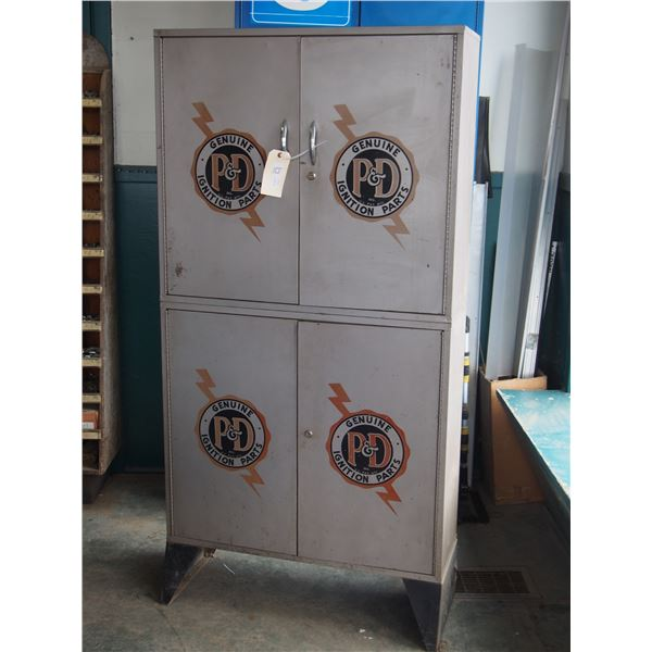 """P& D Genuine Ignition Parts Metal Display Cabinet 32.5 by 65"""" T"""