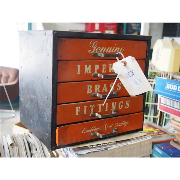 """Genuine Imperial Brass Fittings Metal Display Cabinet WITH CONTENTS 11.5 by 10.5"""" T"""