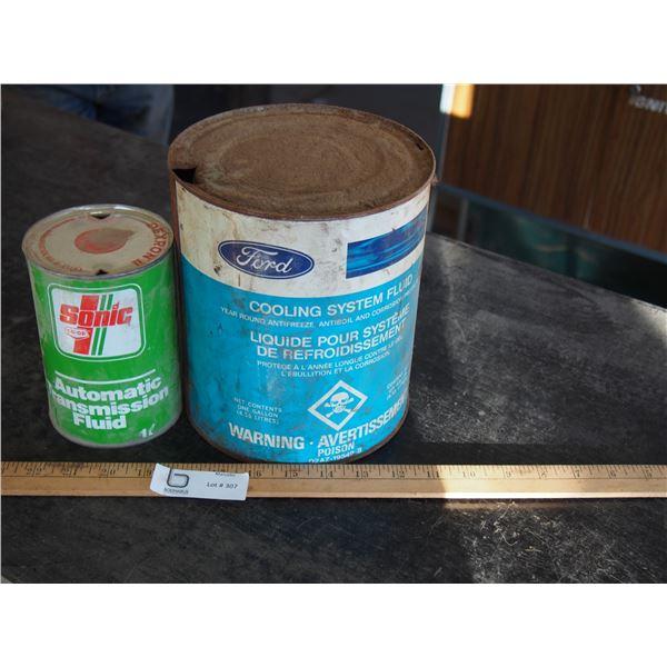 Sonic Auto Trans Fluid 1 Quart Can, Ford Antifreeze Tin