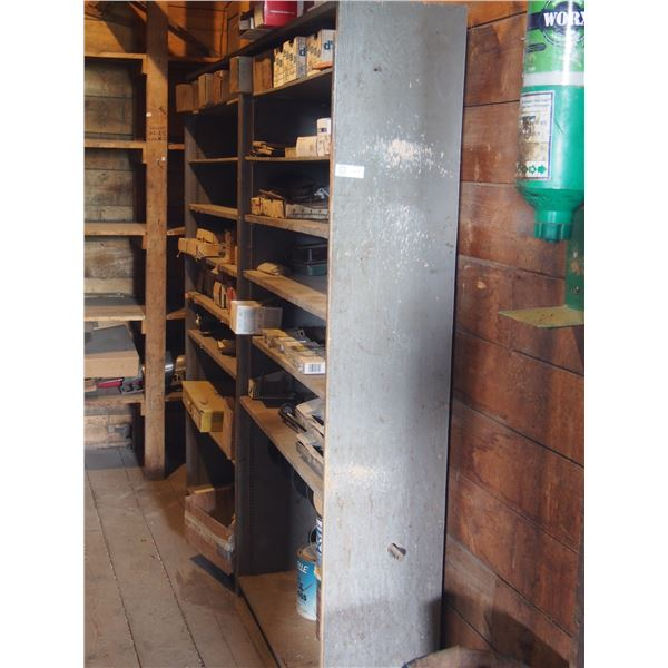 (2) Wooden shelf with contents auto parts and misc