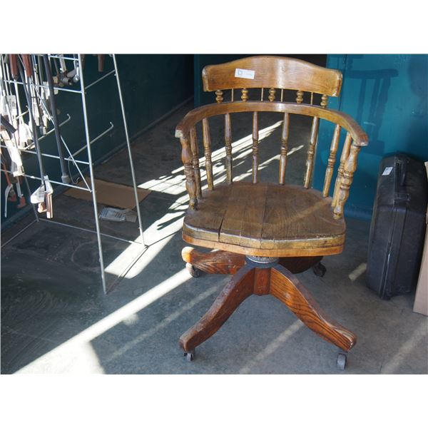Wooden Office Chair on Casters