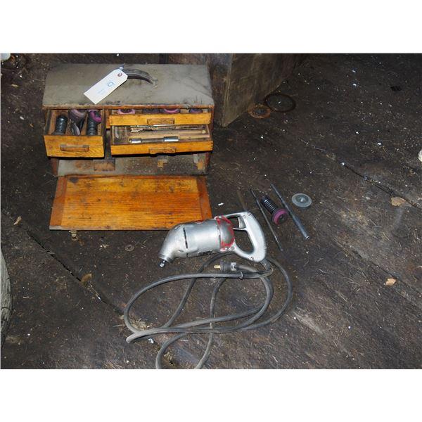 Van Dorn Valve Seat Grinder with Attachments in Wooden Case
