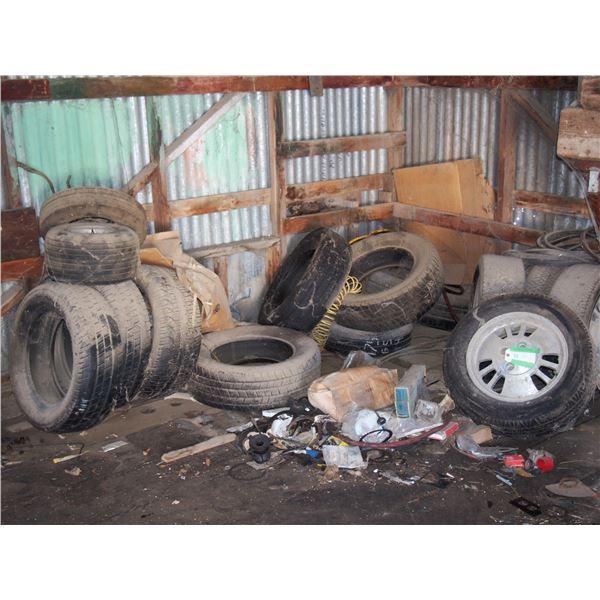 15 Tires Stored Inside Plus Misc