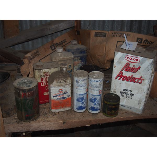 Vintage Oil Cans with Contents