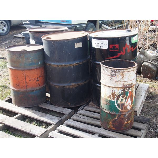B/A Garbage Can and Metal Oil Barrels