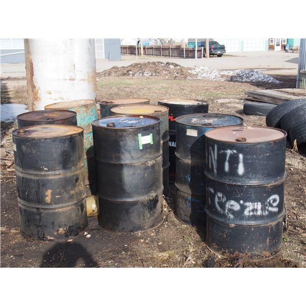 Lot of Metal Oil Barrels