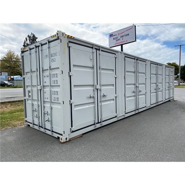 "NEW 9'6""H X 40'L GREY COMMERCIAL 52,910LBS CAPACITY SWING DOOR SHIPPING CONTAINER WITH 4 DUAL SWING,"