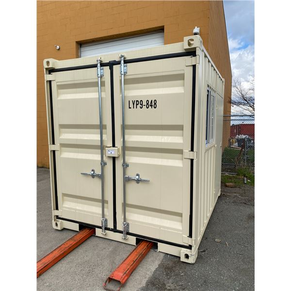 NEW 9' BEIGE COMMERCIAL OFFICE SHIPPING CONTAINER WITH SIDE MAN DOOR, BARRED WINDOW & DUAL REAR