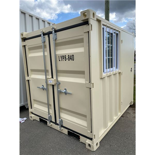 NEW 8' BEIGE COMMERCIAL OFFICE SHIPPING CONTAINER WITH SIDE MAN DOOR, BARRED WINDOW & DUAL REAR