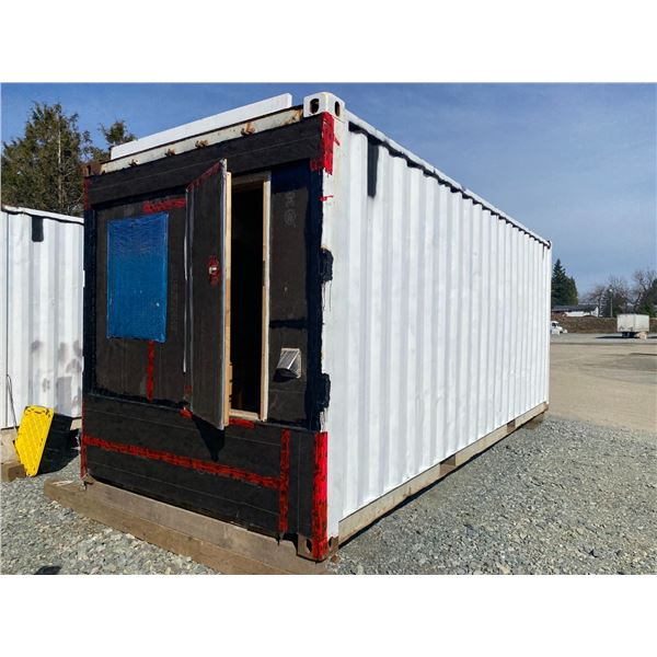 2 - 20' SHIPPING CONTAINERS PARTIALLY CONVERTED INTO LIVING QUARTERS, INCLUDES CONTENTS, LOCATED