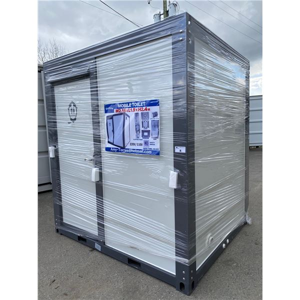 "NEW BASTON 93""H X 86""W X 75""D PORTABLE TOILET / BATHHOUSE WITH SINK, TOILET, SHOWER, WINDOW FAN &"