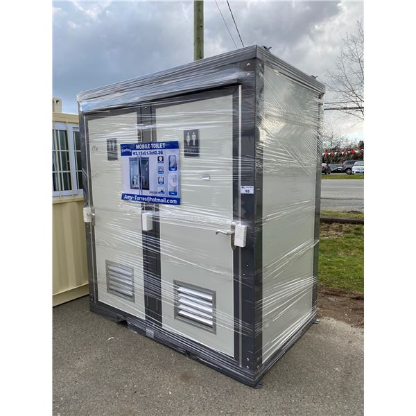 NEW BASTON 91 H X 81 W X 51 D DUAL PORTABLE TOILET WITH SINKS, TOILETS, LIGHTS & BATHROOM AMENITIES