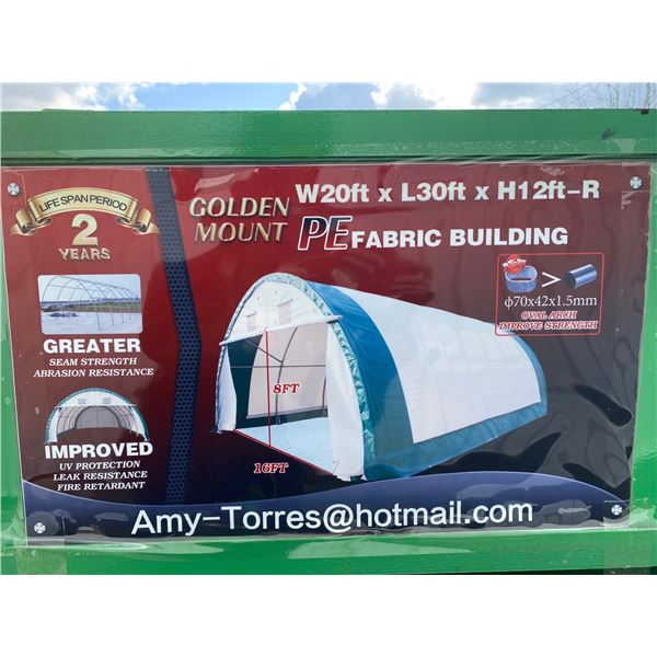GOLDEN MOUNT PE FABRIC BUILDING H12' X L30' X W20' UV PROTECTION, LEAK RESISTANT AND FIRE RETARDANT