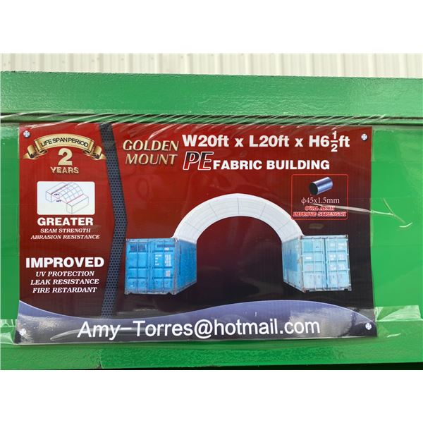 GOLDEN MOUNT CONTAINER MOUNTED PE FABRIC BUILDING H6.5' X L20' X W20' UV PROTECTION, LEAK RESISTANT