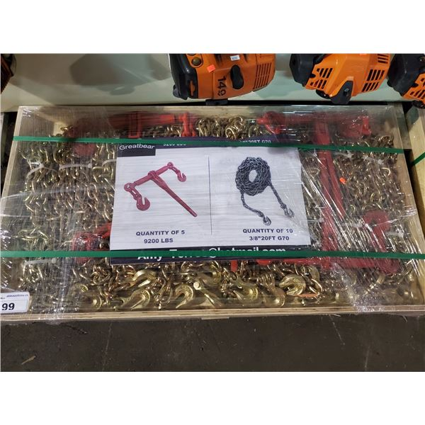 """GREATBEAR 9200LBS RATCHET BINDER AND 3/8"""" X 20' G70 CHAIN SET WITH 5 RATCHETS AND 10 CHAINS"""