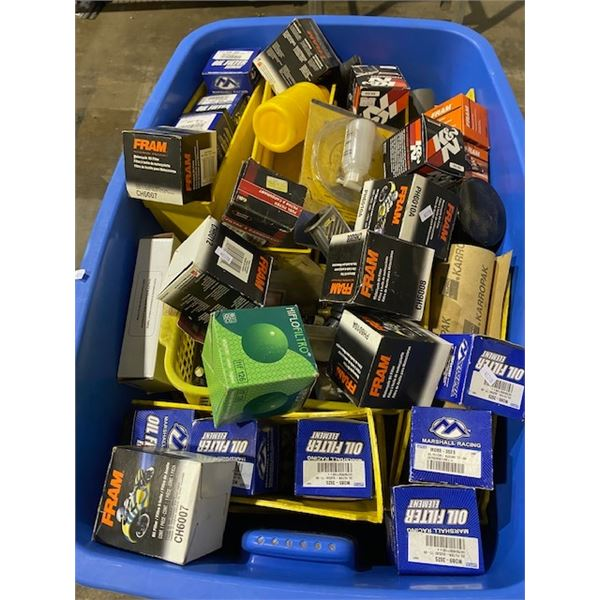 BIN OF MOTORCYCLE FILTERS AND PARTS