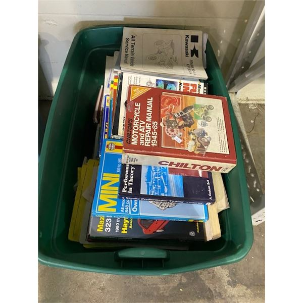 BIN OF MOTORCYCLE BOOKS AND MANUALS
