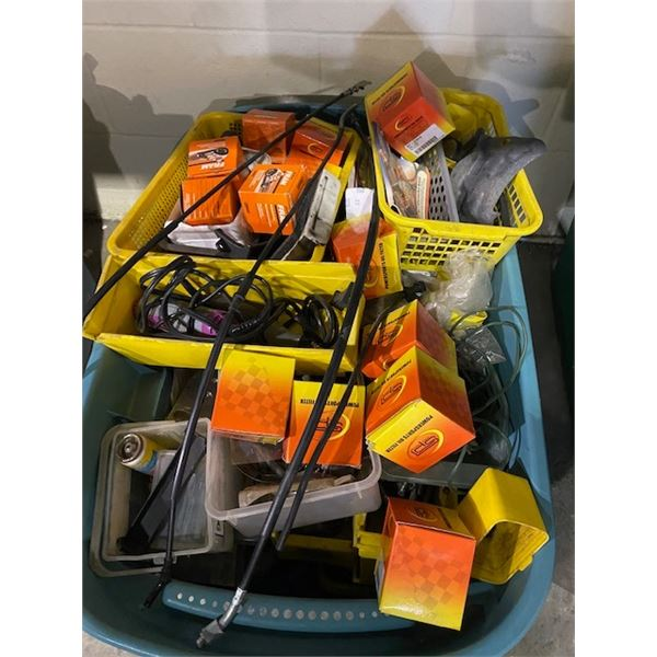 BIN OF MOTORCYCLE FILTERS AND PARTS AND BIN OF MOTORCYCLE AND SHOP FLUIDS